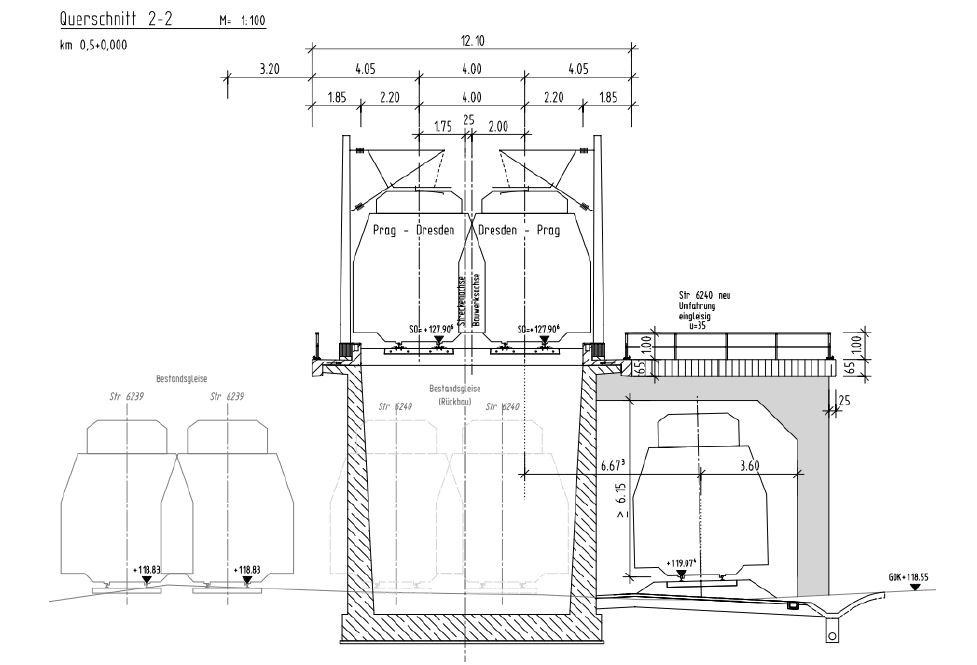 Mögliche Umsetzungsvariante einer Unterquerung der Neubaustrecke (Machbarkeitsstudie 2015 SMWA)