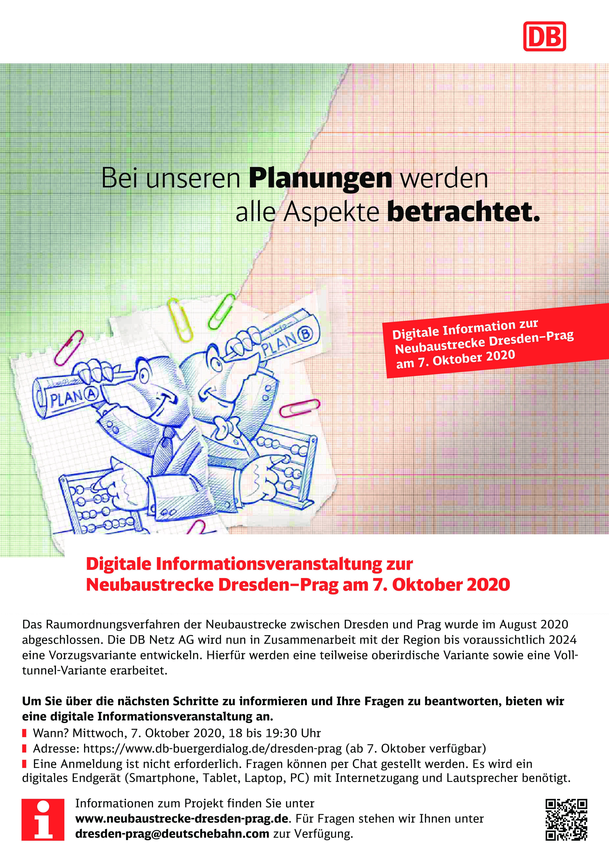 Max Maulwurf-Plakat zur digitalen Bürgerinformation NBS Dresden-Prag am 7. Oktober 2020